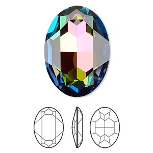 embellishment, swarovski crystal rhinestone, crystal passions, crystal vitrail medium, foil back, 30x22mm faceted oval fancy stone (4127). sold per pkg of 4.