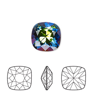 embellishment, swarovski crystal rhinestone, crystal passions, crystal vitrail medium, foil back, 12x12mm faceted cushion fancy stone (4470). sold individually.