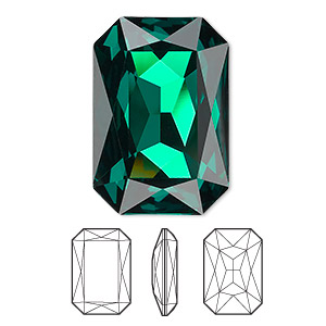 embellishment, swarovski crystal rhinestone, crystal passions, emerald, foil back, 27x18.5mm faceted emerald-cut fancy stone (4627). sold individually.