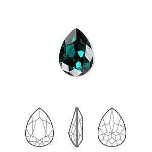 embellishment, swarovski crystal rhinestone, crystal passions, emerald, foil back, 14x10mm faceted pear fancy stone (4320). sold per pkg of 12.