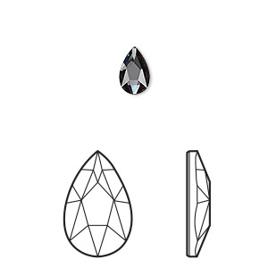 embellishment, swarovski crystal rhinestone, crystal passions, graphite, foil back, 8x5mm faceted pear flat back fancy stone (2303). sold per pkg of 6.