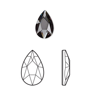 embellishment, swarovski crystal rhinestone, crystal passions, graphite, foil back, 14x9mm faceted pear flat back fancy stone (2303). sold per pkg of 24.