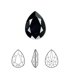 embellishment, swarovski crystal rhinestone, crystal passions, jet, 18x13mm faceted pear fancy stone (4320). sold per pkg of 6.