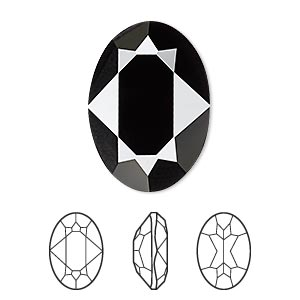 embellishment, swarovski crystal rhinestone, crystal passions, jet, 25x18mm faceted oval fancy stone (4120). sold per pkg of 4.