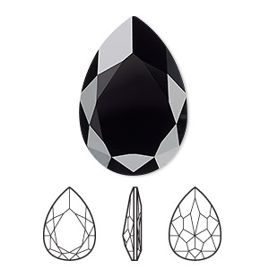 embellishment, swarovski crystal rhinestone, crystal passions, jet, 30x20mm faceted pear fancy stone (4327). sold individually.