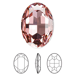 embellishment, swarovski crystal rhinestone, crystal passions, light rose, foil back, 30x22mm faceted oval fancy stone (4127). sold individually.