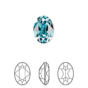embellishment, swarovski crystal rhinestone, crystal passions, light turquoise, foil back, 14x10mm faceted oval fancy stone (4120). sold individually.