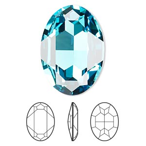 embellishment, swarovski crystal rhinestone, crystal passions, light turquoise, foil back, 30x22mm faceted oval fancy stone (4127). sold per pkg of 4.
