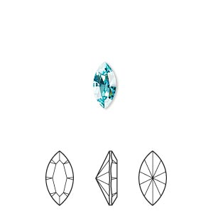 embellishment, swarovski crystal rhinestone, crystal passions, light turquoise, foil back, 10x5mm xilion navette fancy stone (4228). sold per pkg of 24.