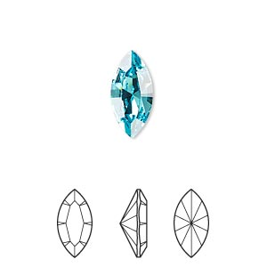 embellishment, swarovski crystal rhinestone, crystal passions, light turquoise, foil back, 15x7mm xilion navette fancy stone (4228). sold per pkg of 2.