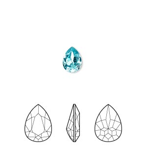embellishment, swarovski crystal rhinestone, crystal passions, light turquoise, foil back, 8x6mm faceted pear fancy stone (4320). sold per pkg of 2.