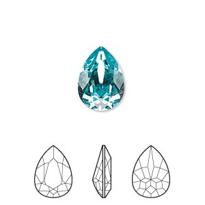 embellishment, swarovski crystal rhinestone, crystal passions, light turquoise, foil back, 14x10mm faceted pear fancy stone (4320). sold per pkg of 12.