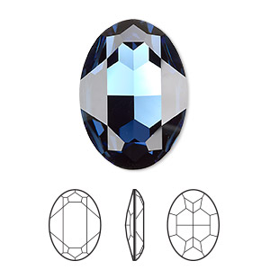 embellishment, swarovski crystal rhinestone, crystal passions, montana, foil back, 30x22mm faceted oval fancy stone (4127). sold individually.