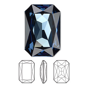 embellishment, swarovski crystal rhinestone, crystal passions, montana, foil back, 27x18.5mm faceted emerald-cut fancy stone (4627). sold per pkg of 4.