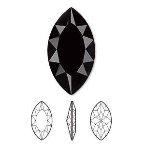 embellishment, swarovski crystal rhinestone, jet, 32x17mm faceted marquise fancy stone (4227). sold per pkg of 24.
