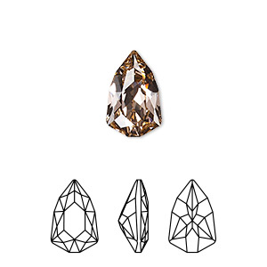 embellishment, swarovski crystal rhinestone, vintage rose, foil back, 13.6x8.6mm faceted trilliant fancy stone (4707). sold per pkg of 72.