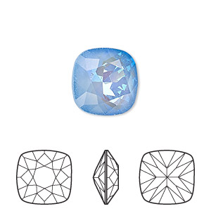 embellishment, swarovski crystal rhinestone with third-party coating, crystal passions, ultra blue ab, 12x12mm faceted cushion fancy stone (4470). sold per pkg of 6.