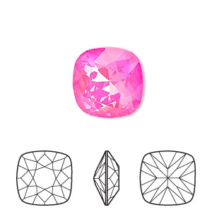 embellishment, swarovski crystal rhinestone with third-party coating, ultra pink ab, 12x12mm faceted cushion fancy stone (4470). sold per pkg of 72.