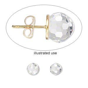 embellishment, swarovski crystals, crystal passions, crystal clear, foil back, 6mm faceted ball fancy stone (4869). sold per pkg of 2.