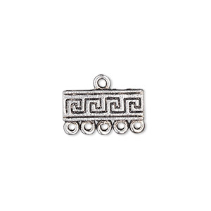 end bar, antique silver-plated pewter (zinc-based alloy), 17x6mm single-sided rectangle with greek key design and 5 loops. sold per pkg of 10.