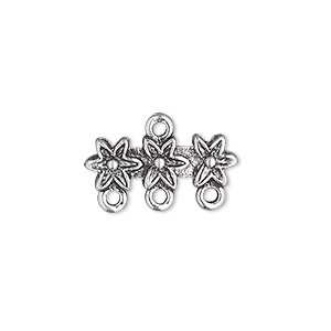 end bar, antique silver-plated pewter (zinc-based alloy), 20x7mm double-sided 3-flower with 3 loops. sold per pkg of 10.