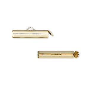 end bar, gold-finished brass, 20x4mm round tube with fold-in ends, 2.75-3mm inside diameter. sold per pkg of 10.