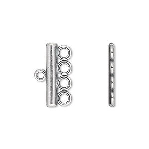 end bar, jbb findings, antique silver-plated pewter (tin-based alloy), 19.5x3.5mm single-sided 4-strand bar. sold per pkg of 2.