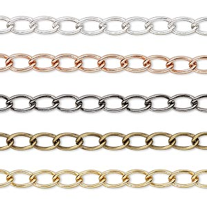 extender chain, gold- / silver- / gunmetal- / copper- / antique gold-plated brass, 4mm curb. sold per pkg of (5) 3-inch sections.