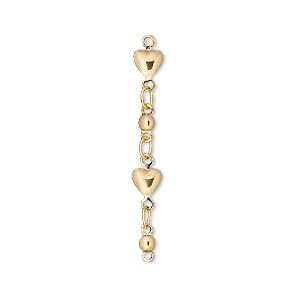extender chain, gold-plated brass, heart, 33mm. sold per pkg of 6.