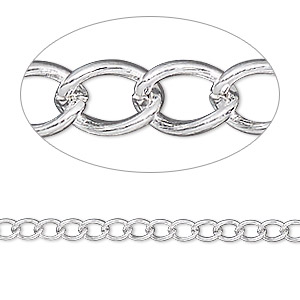 extender chain, silver-plated brass, 3.5mm curb, 3 inches. sold per pkg of 5.