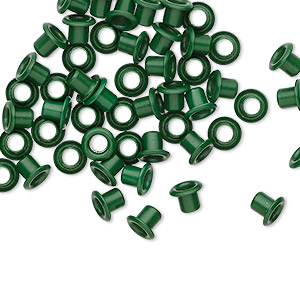 eyelet, acrylic and brass, green, 5x4mm with 3x3mm tube and 2.2mm inside diameter, fits 3.5-5mm hole. sold per pkg of 50.
