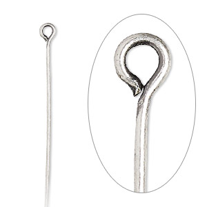 eyepin, antique silver-plated brass, 2 inches, 21 gauge. sold per pkg of 100.