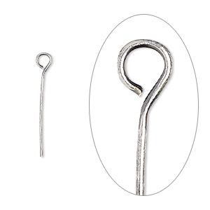eyepin, antique silver-plated brass, 3/4 inch, 24 gauge. sold per pkg of 100.