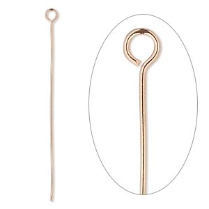 eyepin, copper, 2 inches, 22 gauge. sold per pkg of 50.