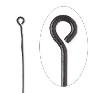 eyepin, electro-coated brass, black, 2 inches, 21 gauge. sold per pkg of 10.