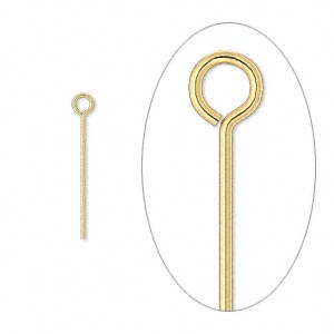 eyepin, gold-plated brass, 3/4 inch, 24 gauge. sold per pkg of 1,000.