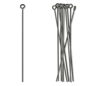 eyepin, niobium, unanodized (natural grey), 1-3/4 inches, 21 gauge. sold per pkg of 10.