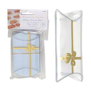 favor box, victoria lynn™, plastic, clear and gold, 3-1/2 x 2-1/2 x 1 inch assembled pillow with bow. sold per pkg of 10.