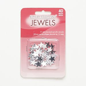 flat back, acrylic, clear, 11x10mm faceted star. sold per pkg of 40.