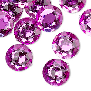 flat back, acrylic, transparent magenta, 13mm faceted round. sold per pkg of 24.