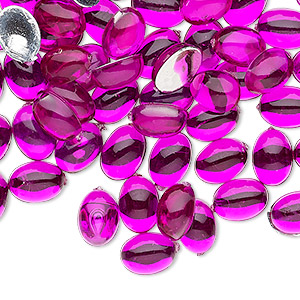 flat back, acrylic, transparent magenta, 8x6mm non-calibrated oval. sold per pkg of 100.