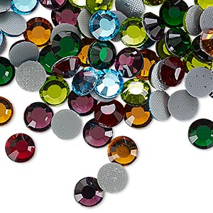 flat back, hot-fix glass rhinestone, assorted colors, 6.32-6.5mm faceted round, ss30. sold per pkg of 144 (1 gross).