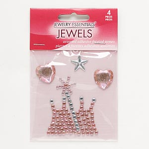 flat back, self-adhesive acrylic, pink and clear, 14x14mm faceted star / 16x16mm faceted heart / 48x42mm crown. sold per pkg of 4.