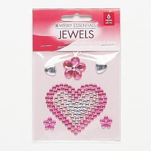 flat back, self-adhesive acrylic, pink and clear, assorted size and shape. sold per pkg of 6.