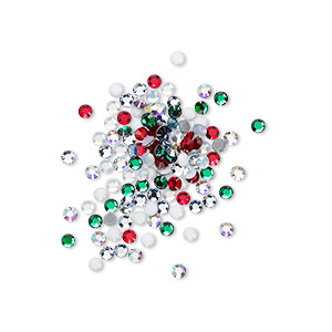flat back, swarovski crystal hotfix rhinestone, crystal passions, christmas, foil back, 1.9-2.1mm xilion rose (2028), ss6. sold per pkg of 144 (1 gross).