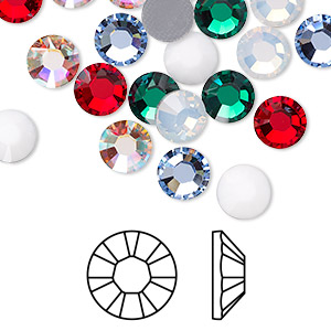 flat back, swarovski crystal hotfix rhinestone, crystal passions, christmas, foil back, 7.07-7.27mm xilion rose (2028), ss34. sold per pkg of 24.
