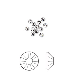 flat back, swarovski crystal hotfix rhinestone, crystal passions, crystal clear, foil back, 2.3-2.5mm xilion rose (2038), ss8. sold per pkg of 12.