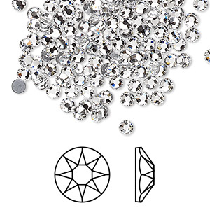 flat back, swarovski crystal hotfix rhinestone, crystal passions, crystal clear, foil back, 3-3.2mm xirius rose (2078), ss12. sold per pkg of 12.