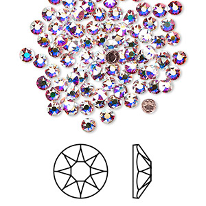 flat back, swarovski crystal hotfix rhinestone, crystal passions, crystal ab, foil back, 3-3.2mm xirius rose (2078), ss12. sold per pkg of 144 (1 gross).