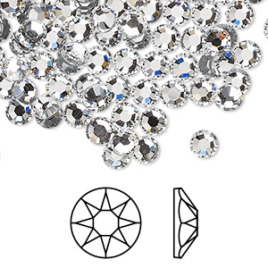 flat back, swarovski crystal hotfix rhinestone, crystal passions, crystal clear, foil back, 4.6-4.8mm xirius rose (2078), ss20. sold per pkg of 12.